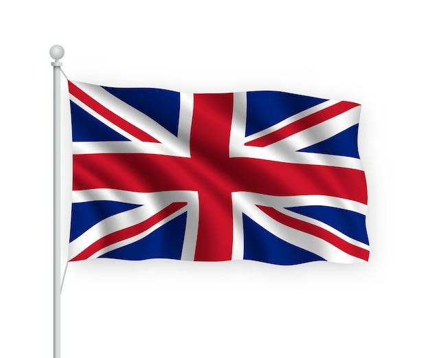 Drapeau royaume-uni sur mât isolé sur blanc