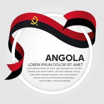 Drapeau de ruban de l'angola, illustration vectorielle sur fond blanc