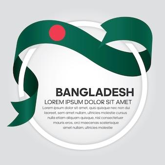 Drapeau de ruban du bangladesh, illustration vectorielle sur fond blanc