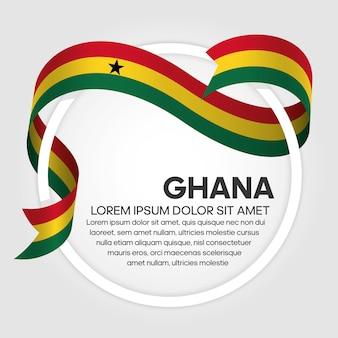 Drapeau de ruban du ghana, illustration vectorielle sur fond blanc