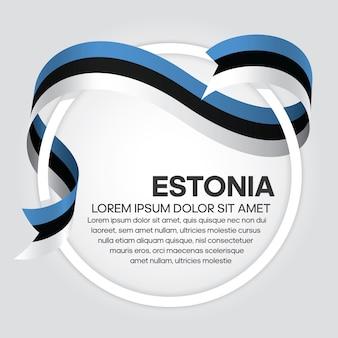 Drapeau de ruban de l'estonie, illustration vectorielle sur fond blanc