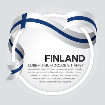 Drapeau de ruban de finlande, illustration vectorielle sur fond blanc