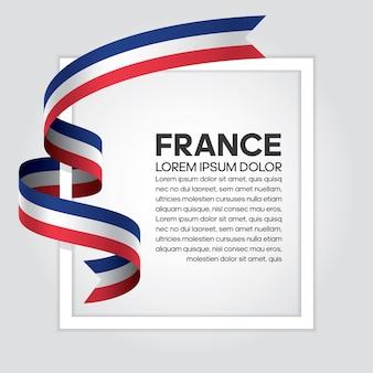 Drapeau de ruban de france, illustration vectorielle sur fond blanc