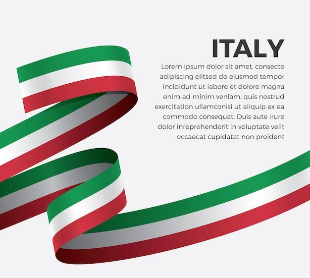 Drapeau de ruban d'italie, illustration vectorielle sur fond blanc