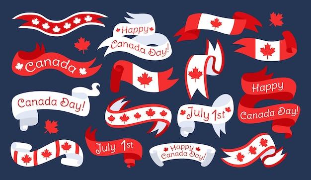 Drapeau et ruban joyeux jour du canada ensemble plat, bande de ruban canadien avec feuille d'érable