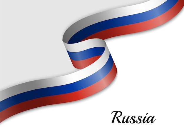 Drapeau de ruban ondulant de la russie