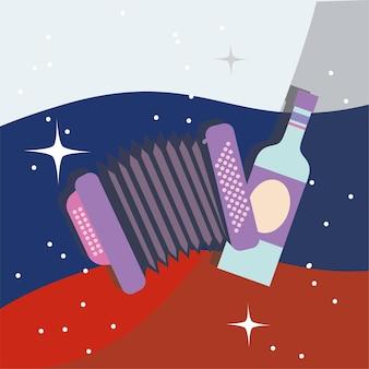 Drapeau russe et alcool avec accordéon