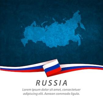 Drapeau de la russie avec carte centrale