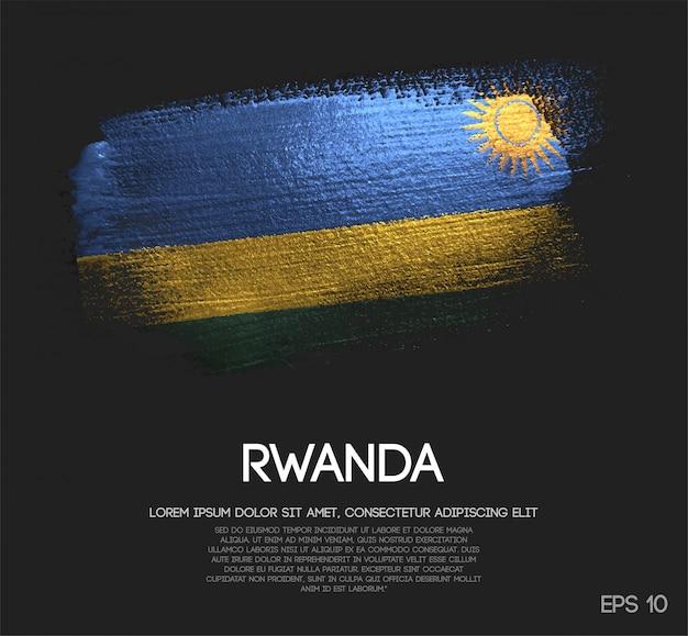 Drapeau de rwanda fait de peinture de pinceau d'étincelle de scintillement