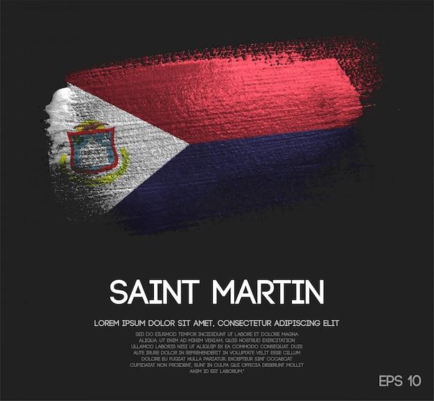 Drapeau de saint martin fait de la peinture de pinceau d'étincelle de scintillement