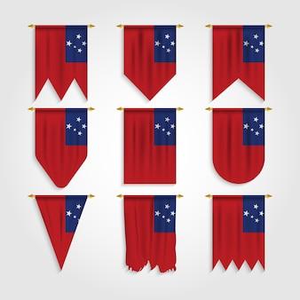 Drapeau des samoa dans différentes formes, drapeau des samoa sous diverses formes