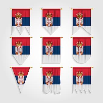 Drapeau de la serbie avec différentes formes, drapeau de la serbie sous différentes formes