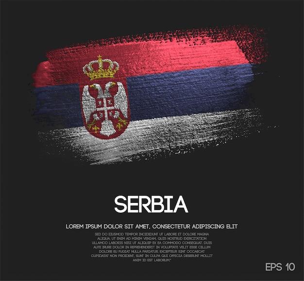 Drapeau de la serbie fait de peinture de pinceau d'étincelle de scintillement