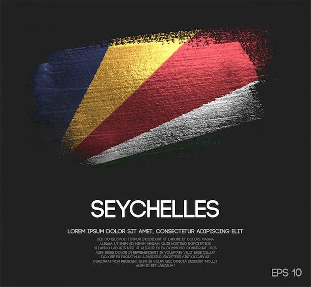 Drapeau des seychelles fait de la peinture de pinceau d'étincelle de scintillement