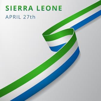 Drapeau de la sierra leone. 27 avril. illustration vectorielle. ruban ondulé sur fond gris. jour de l'indépendance. symbole national. modèle de conception graphique.