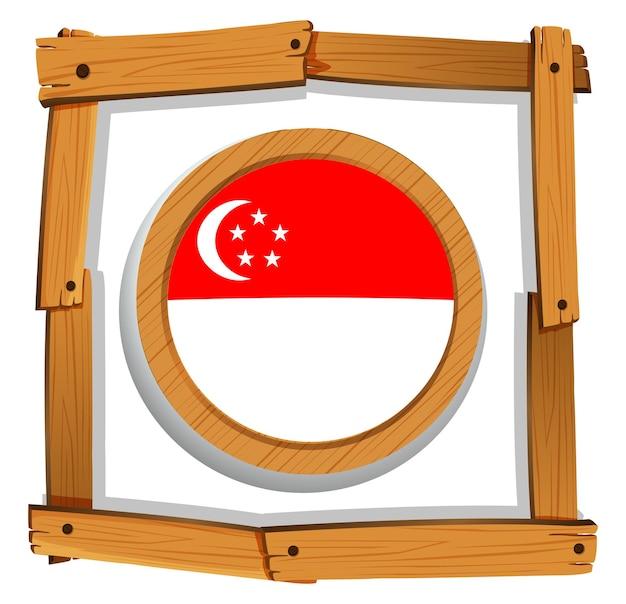 Drapeau de singapour sur badge rond