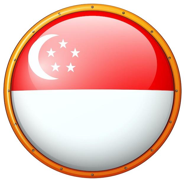 Drapeau de singapour sur châssis rond