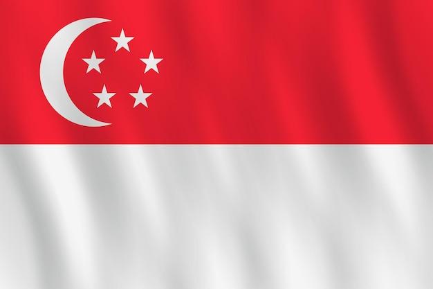 Drapeau de singapour avec effet ondulant, proportion officielle.
