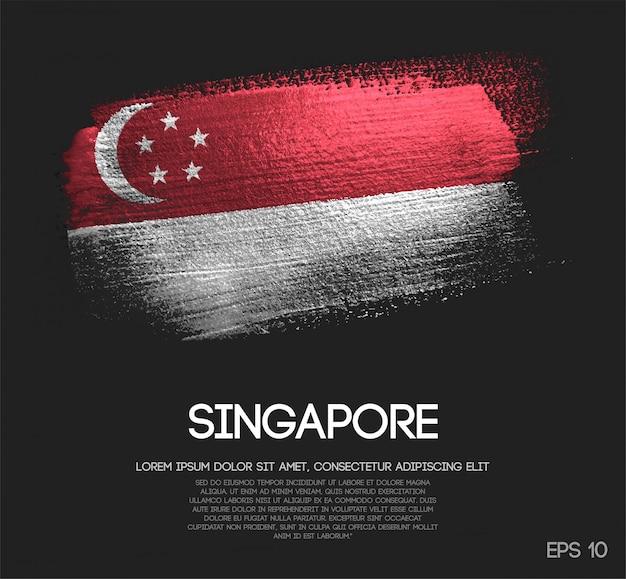 Drapeau de singapour fait de peinture de pinceau de scintillement de scintillement