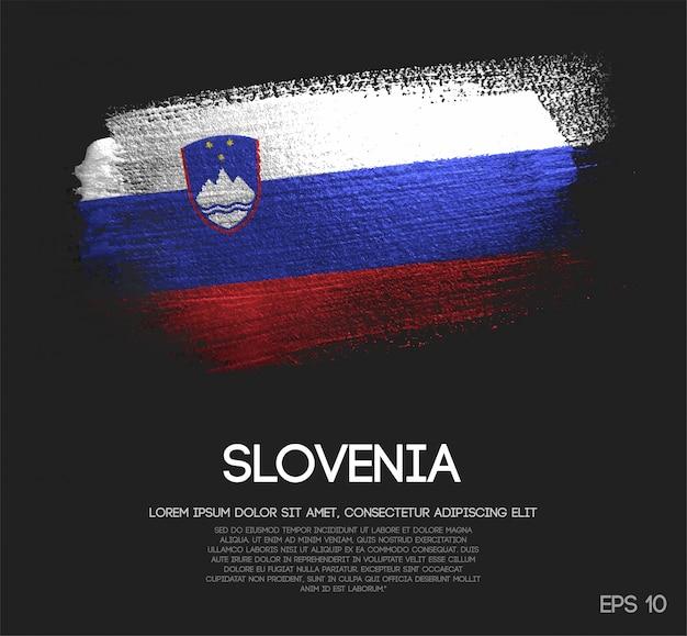 Drapeau de la slovénie fait de peinture de pinceau d'étincelle de scintillement