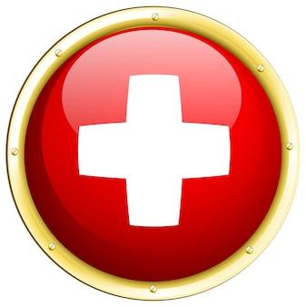 Drapeau suisse sur badge rond