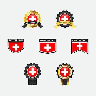 Drapeau de la suisse avec la conception de l'insigne de l'emblème