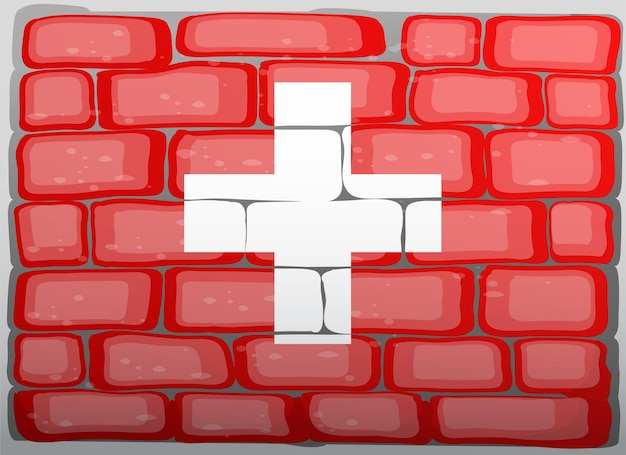 Drapeau suisse sur le mur