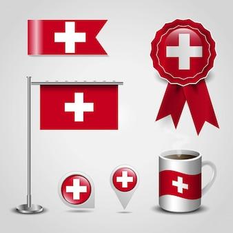 Drapeau de la suisse placé sur une épingle de carte, un poteau en acier et un badge à ruban