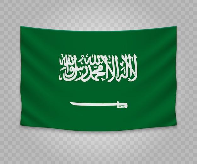 Drapeau suspendu réaliste de l'arabie saoudite