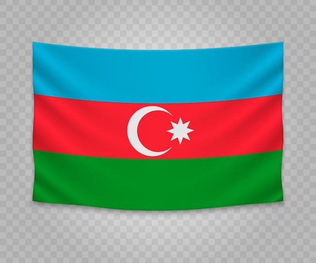 Drapeau suspendu réaliste de l'azerbaïdjan