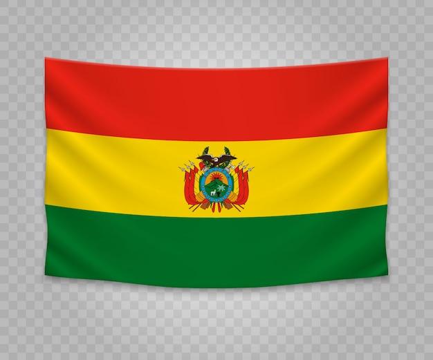 Drapeau suspendu réaliste de la bolivie