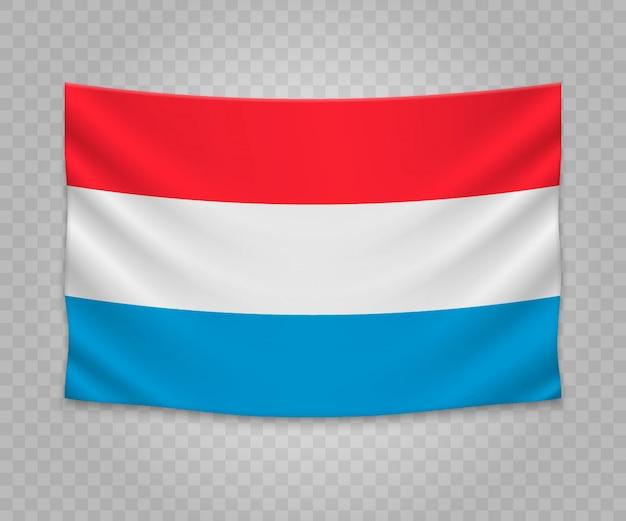 Drapeau suspendu réaliste du luxembourg