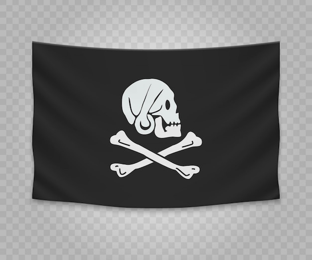 Drapeau suspendu réaliste du pirate jolly roger