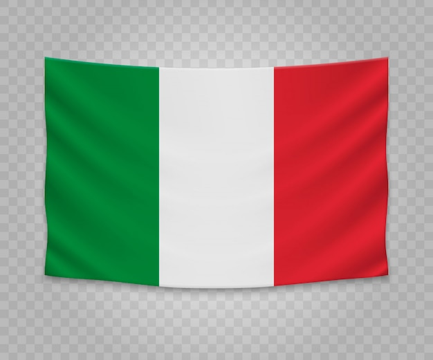 Drapeau suspendu réaliste de l'italie