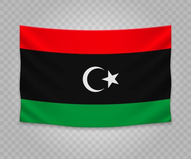 Drapeau suspendu réaliste de la libye