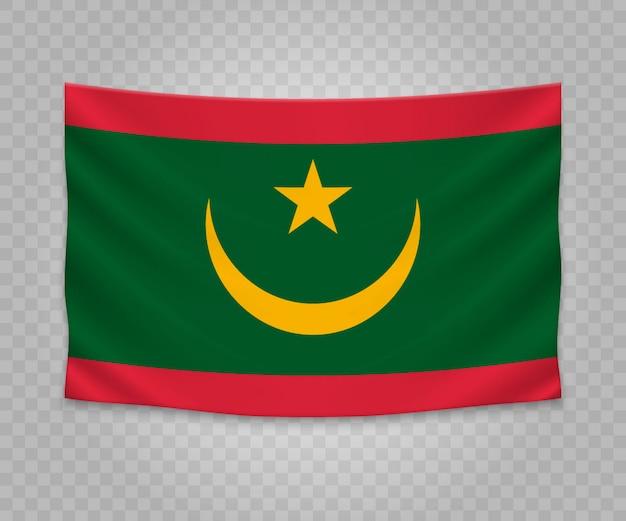 Drapeau suspendu réaliste de la mauritanie