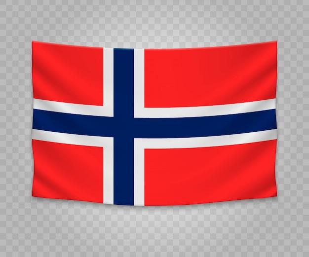 Drapeau suspendu réaliste de la norvège