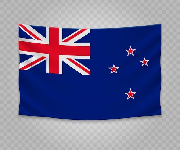 Drapeau suspendu réaliste de la nouvelle-zélande