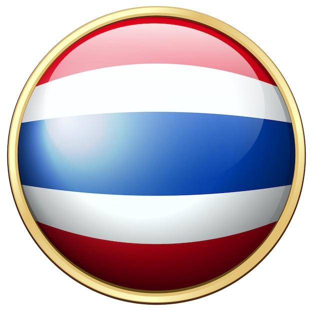 Drapeau de la thaïlande sur badge rond