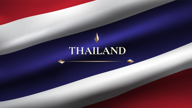 Drapeau de thaïlande curl nervuré réaliste plus espace pour le texte