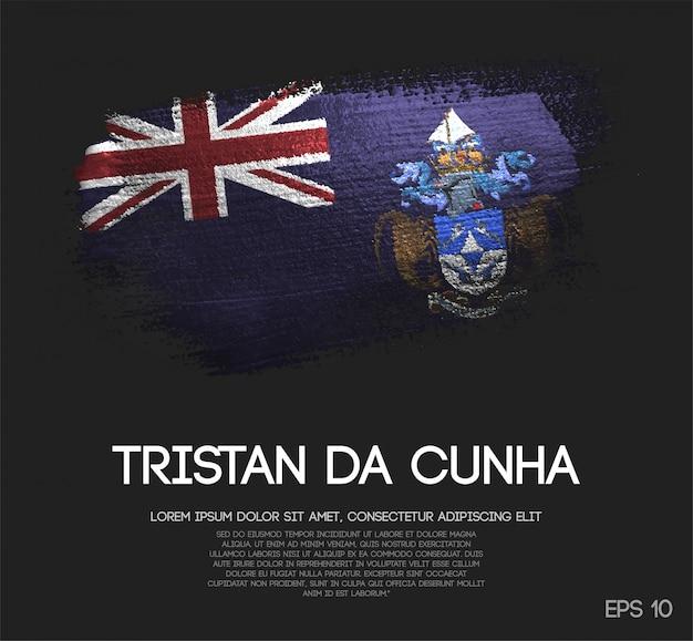 Drapeau De Tristan Da Cunha Fait De Peinture De Pinceau De Scintillement D'étincelle Vecteur Premium