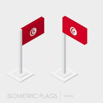 Drapeau de la tunisie 3d isométrique