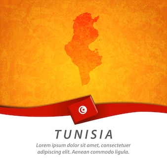 Drapeau de la tunisie avec carte centrale