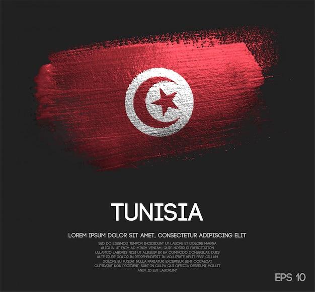 Drapeau de la tunisie fait de peinture de pinceau d'étincelle de scintillement