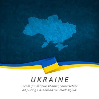 Drapeau ukraine avec carte centrale