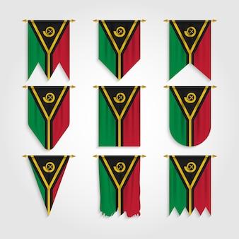 Drapeau de vanuatu dans différentes formes, drapeau de vanuatu dans diverses formes