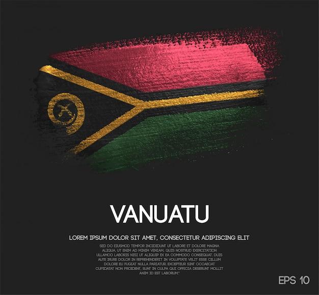 Drapeau de vanuatu fait de peinture de pinceau d'étincelle de scintillement