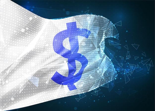 Drapeau de vecteur de devise de dollar, objet 3d abstrait virtuel des polygones triangulaires sur un fond bleu