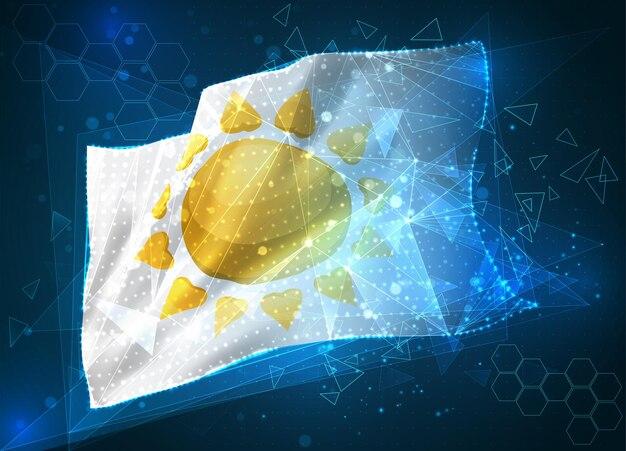 Drapeau de vecteur de soleil, objet 3d abstrait virtuel des polygones triangulaires sur un fond bleu