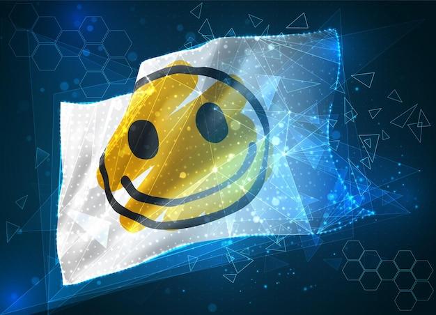 Drapeau de vecteur de sourire jaune gai, objet 3d abstrait virtuel de polygones triangulaires sur fond bleu